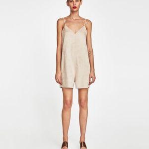 Zara W/B Collection Beige Tan Faux Suede Romper